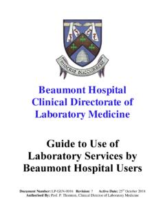 Beaumont Hospital Clinical Directorate of Laboratory ...