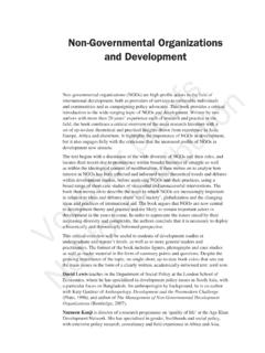 Non-Governmental Organizations and Development - LSE