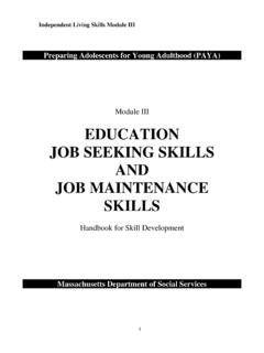 EDUCATION JOB SEEKING SKILLS AND JOB MAINTENANCE …