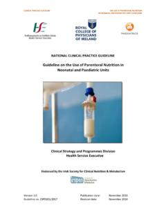 Guideline on the Use of Parenteral Nutrition in Neonatal ...