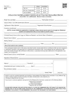 Application for Replacement Certificate of Title for ...