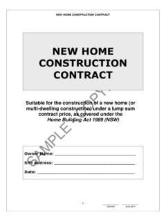 NEW HOME CONSTRUCTION CONTRACT - Home …