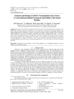 Analysis and Design of 220 kV Transmission Line Tower (A ...
