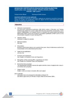 ADVANCED CERTIFICATE IN EDUCATION (SPECIALISATION ...