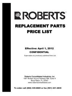 REPLACEMENT PARTS PRICE LIST - robertsconsolidated.com