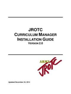 JROTC CURRICULUM MANAGER INSTALLATION GUIDE