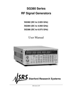 SG380 Series RF Signal Generators - Stanford Research …