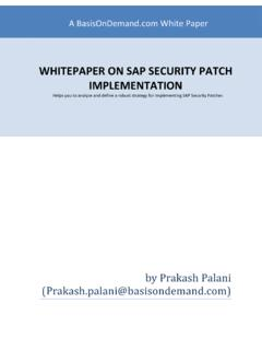 WHITEPAPER ON SAP SECURITY PATCH IMPLEMENTATION