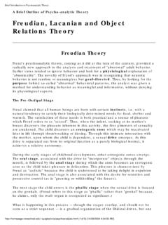 Freudian, Lacanian and Object Relations Theory