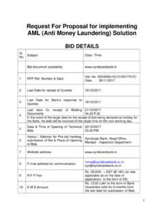 Request For Proposal for implementing AML (Anti Money ...