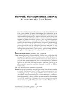 Playwork, Play Deprivation, and Play: An Interview with ...