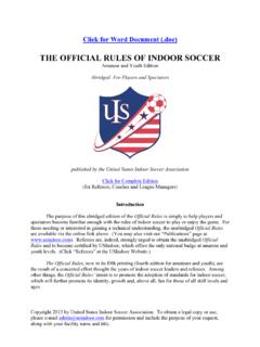 THE OFFICIAL RULES OF INDOOR SOCCER