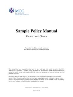 Sample Policy Manual - Metropolitan Community Church