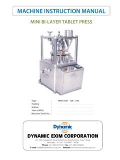 MACHINE INSTRUCTION MANUAL - Tablet Press Company