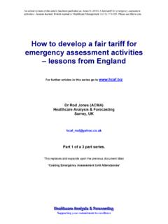 How to develop a fair tariff for emergency …