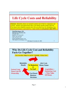 Life Cycle Cost and Reliability - Barringer1.com