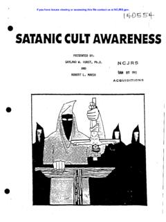 SATANIC CULT AWARENESS - NCJRS