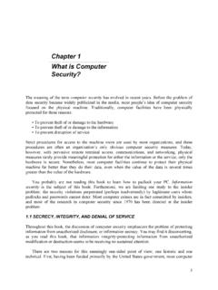 Chapter 1 What is Computer Security? - cse.psu.edu