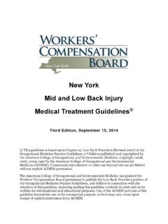 Low Back Disorders - NYS Workers Compensation …