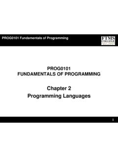 Chapter 2 Programming Languages - FTMS