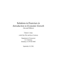 Solutions to Exercises in Introduction to Economic Growth