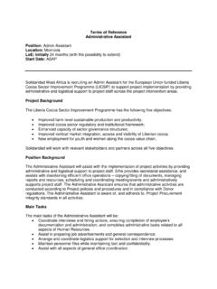 Terms of Reference Administrative Assistant