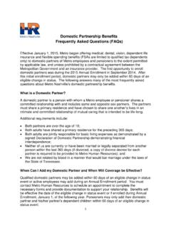 Domestic Partnership Benefits Frequently Asked Questions ...