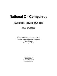 National Oil Companies - World Bank