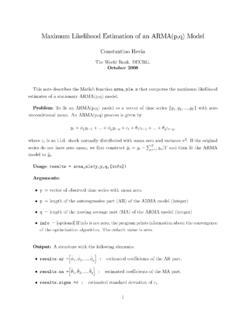 Maximum Likelihood Estimation of an ARMA(p,q) …