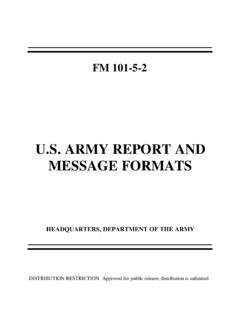 FM 101-5-2 U.S. Army Report and Message …