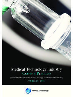 Medical Technology Industry Code of Practice - MTAA