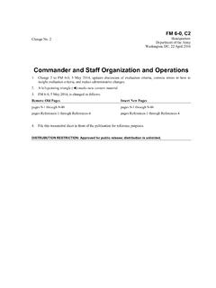 Commander and Staff Organization and Operations