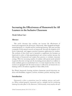 Increasing the Effectiveness of Homework for All Learners ...