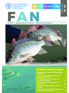 FAO Aquaculture Newsletter, October 2018 - No. 59