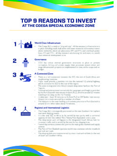 TOP 9 REASONS TO INVEST - Coega