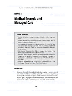 CHAPTER 2 Medical Records and Managed Care
