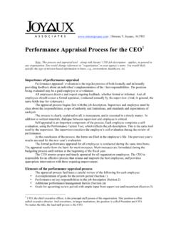 Performance Appraisal Process for the CEO