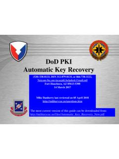 DoD PKI Automatic Key Recovery - Common …
