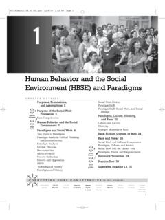Human Behavior and the Social Environment (HBSE) and …