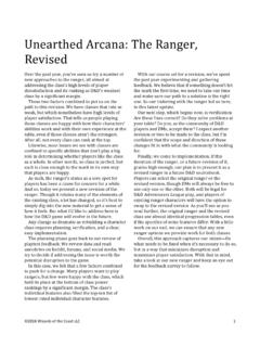Unearthed Arcana: The Ranger Revised