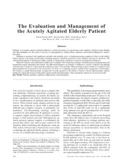 The Evaluation and Management of the Acutely Agitated ...