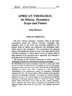 AFRICAN THEOLOGY: Its History, Dynamics, Scope and …