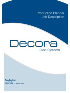 Production Planner Job Description - Decora