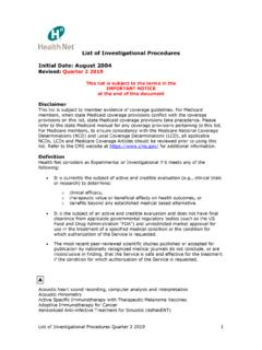 List of Investigational Procedures Initial Date: August ...