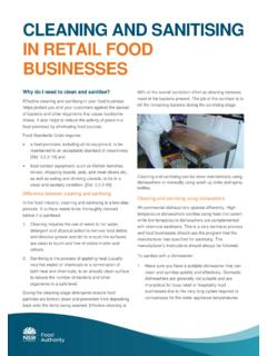 CLEANING AND SANITISING IN RETAIL FOOD BUSINESSES