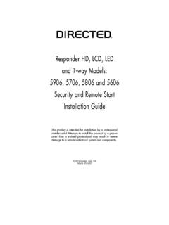 Responder HD, LCD, LED and 1-way Models: 5906, …