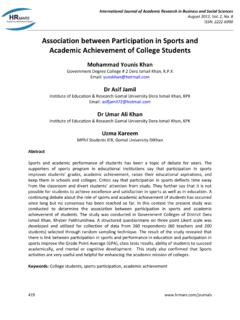 Association between Participation in Sports and Academic ...