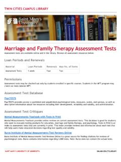 Marriage and Family Therapy Assessment Tests