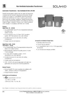 Non-Ventilated Automation Transformers