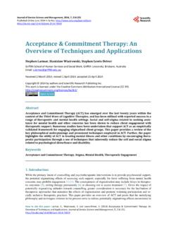 Acceptance & Commitment Therapy: An Overview …